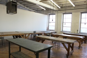 Open space, tables, metal work table